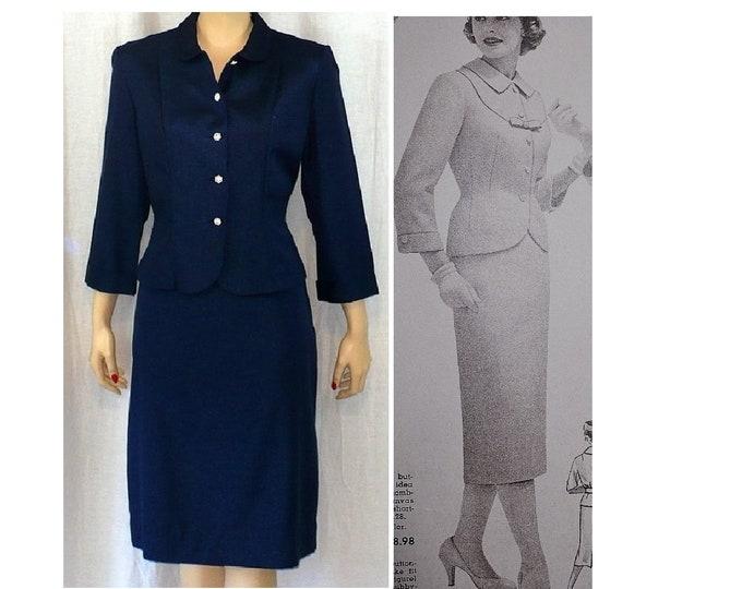 1950's Vintage Navy Blue Skirt Suit Medium