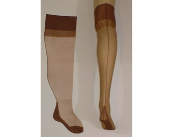 8 x 24  Party Girl Plus Size Vintage Seamed Thigh High Cuban Heel Stockings Oversized Hosiery Full Fashioned FF Nylon Stockings