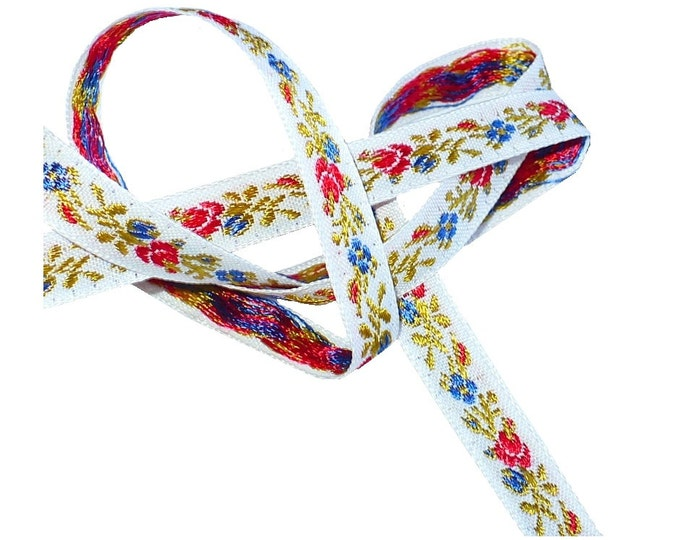 """3/8"""" Vintage 1960's Flowered Embroidered Rayon Ribbon"""