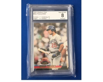 PCA 8 Topps 1993 Mike Piazza #585 Stadium Club Baseball Card Trading Card Vintage Sports Memorabilia Collectibles