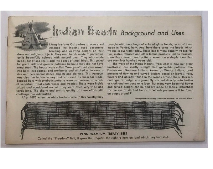 1950s Indian Beads Beading Craft Booklet Vintage Craft Book