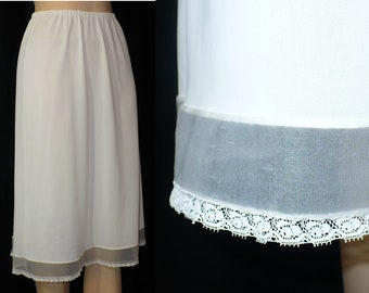 XS Whispery White Organdy Lace Trimmed Nylon  Half Slip 1950s Vintage Lingerie