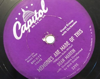 Memories Are Made Of This; Change Of Heart by Dean Martin Vintage 1950's Music 78 Capital Record 10 inch Shellac Disc 3295