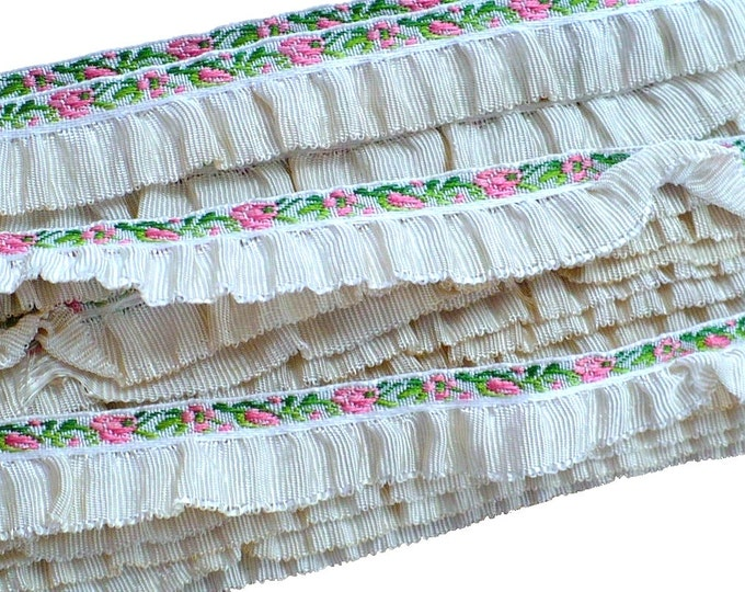 "1920's Vintage Ruffled Silk Embroidered Boudoir Trim 1/2"""