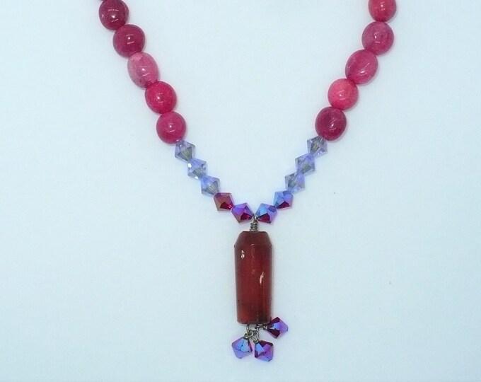 """1990's Vintage """"Ruby"""" Quartz Carnelian Lavalier Choker Necklace"""