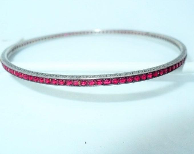 Garnet 935 Argentium Silver Bangle Bracelet
