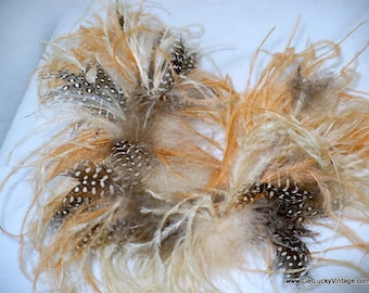 1920's Vintage Sewing Trim Ostrich Feather Cuffs, Guinea Hen Feathers Feather Trim