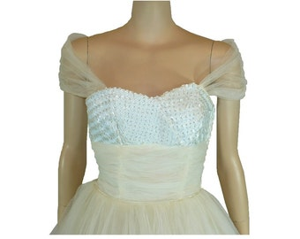 True Beauty 1950's Vintage Prom Dress  Tea Length With White Sequins Bust / X-Small/ Get Lucky Vintage