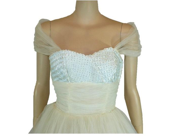 1950's Vintage White Strapless Tea Length Prom Dress
