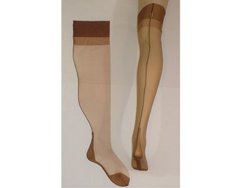 9 1/2 to 10 x 25 Curvacious Cuban Heel Vintage Seamed Thigh High Stockings Oversized Plus Size Hosiery Full Fashioned FF Nylon Stockings
