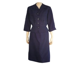 Executive Sweet / Skirt Suit / Vintage 1950's / Navy Blue / Medium / Get Lucky Vintage