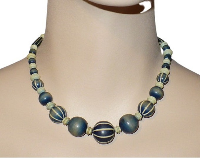 "1920's Vintage Pumtek Fossilized Opalized Palm Wood Blue Beaded 16"" inch Choker Length Necklace"