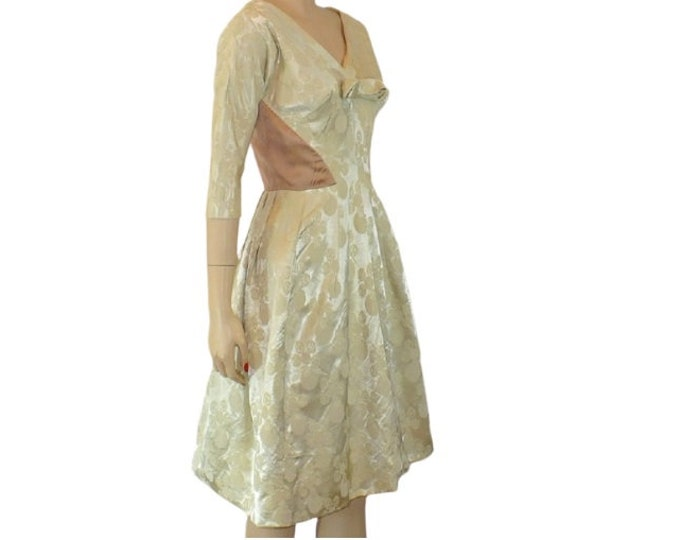 1960's Vintage Winter White Satin Dress