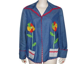 Bloom Where You Are Planted - Vintage 1970's Jacket - Large