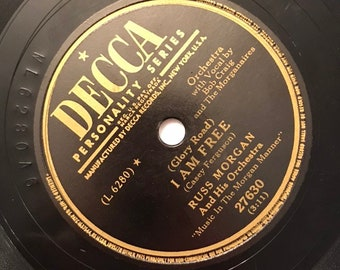 I Am Free; My Truly, Truly Fair by Russ Morgan Orchestra Fox Trot 1940s Vintage Music Decca Record 10 inch 78 Shellac Disc 27630