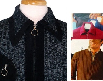 M Men's Body-hugging Vintage 1970's Ribbed Sweater Zippered Cardigan Black Suede Accent Shirt Medium