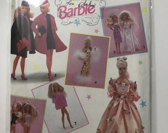 Vintage Barbie Clothes Simplicity Sewing Pattern 7601 Wedding Gown Bridesmaid Dress Ballgown Coat Hat Purse Swimsuit Baby Doll Pajamas
