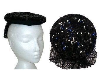 Swing Sweetheart -1940's Vintage Percher Beret Hat with Black Sequins and Victory Hair Shield at Back