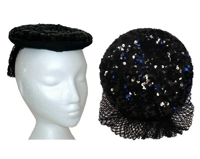 1940's Vintage Black Sequins Percher Hat