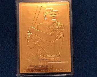 1994 Babe Ruth 22K Golden Legends Limited Edition GL1 22 Karat Gold N.y. Yankees Baseball Card Trading Card