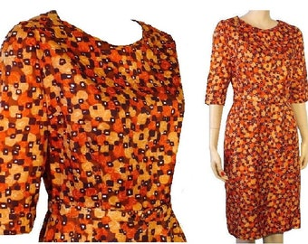 L Museum Moxie Vintage 1960's Abstract Print Brown Day Dress Large 12