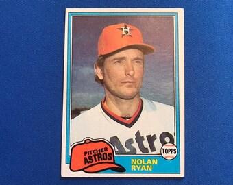 1981 Topps #240 Nolan Ryan HOF Astros Baseball Trading Card Vintage Sports Memorabilia Collectibles