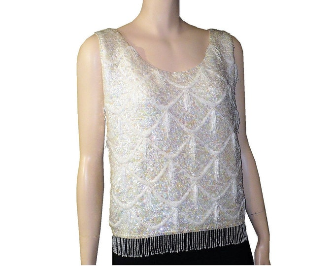 1960's Vintage Beaded Shimmy White Shell Top Blouse
