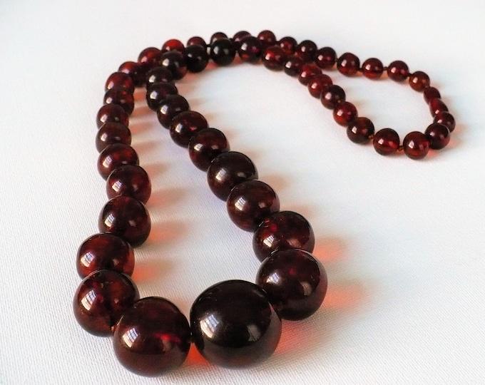 Vintage Big Cherry Amber Beaded Gemstone Necklace 33 inch
