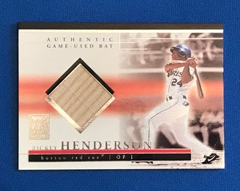 2002 Topps Bat Card 1/1 Rickey Henderson / Red Sox / Authentic Game Used Bat / Hall of Fame/ HOF / Vintage Baseball Card / Get Lucky Vintage