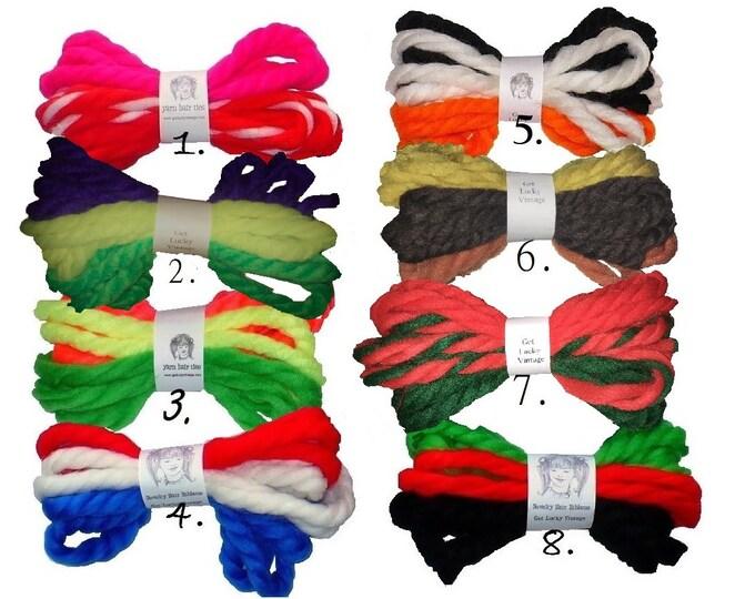 1970's Vintage Yarn Hair Ribbons Ties Back to School Birthday Holiday Bundles Hair Ties
