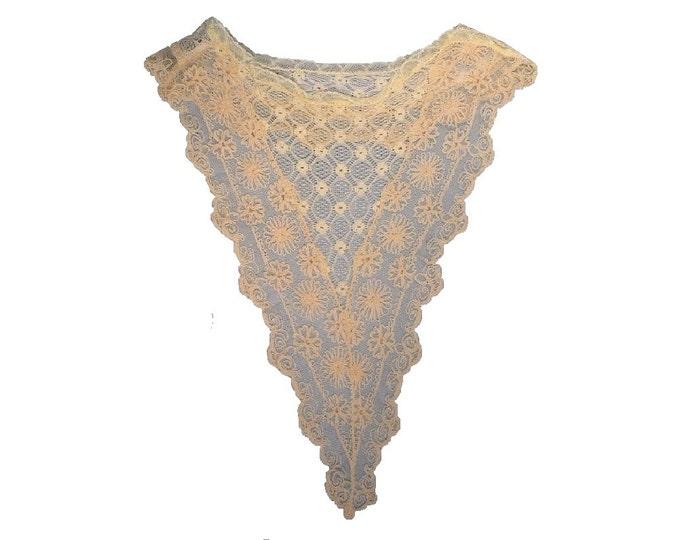 1920's Vintage Flemish Lace Bib Collar Vestee