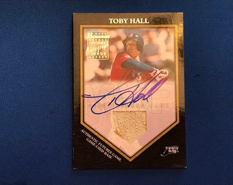 2002 Bowman Game-Used Base Card #FGAB-TB Autographed Toby Hall Tampa Bay Rays Baseball Used Relics Trading Card