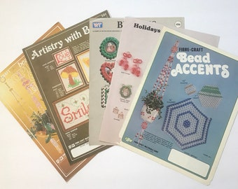 Beading Projects Craft Booklets / Lot of Five  / Vintage Craft Supply / Get Lucky Vintage