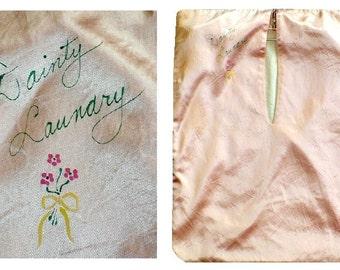 Lingerie Bag / 1920's  Vintage / Dainty Laundry Boudoir Bag