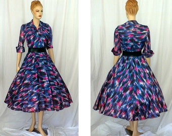 S Lucy! Vintage 1950's Rockabilly Party Dress Small
