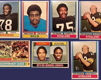 1974 Topps Terry Bradshaw Ahmad Rashad Art Shell Joe Greene Rushing Leaders Championship Games Football Trading Card