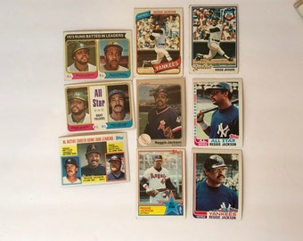 Reggie Jackson HOF Lot Baseball Trading Card Vintage Sports Memorabilia Collectibles