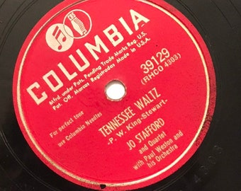 Tennesse Waltz; Goodnight Pillow by Paul Weston Jo Stafford Columbia Vintage Country Music 78 Columbia Record 10 inch Shellac Disc 39129