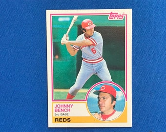 1983 Topps #60 Johnny Bench HOF Reds Baseball Trading Card Vintage Sports Memorabilia Collectibles