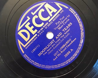 Moonlight And Tears; Who Am I? by Guy Lombardo 1940s Vintage Big Band Fox Trot Music Decca 78 Record 10 inch Shellac Disc 3556