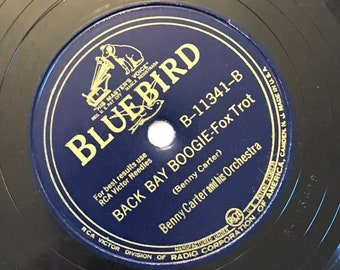 Back Bay Boogie; Sunday by Benny Carter and Orchestra 1940s Vintage Big Band Fox Trot Music 78 Bluebird Record 10 inch Shellac Disc 11341