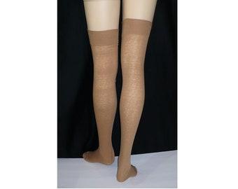 10 x 27 Country Girl Tease Vintage Thigh High Stockings Mercerized Cotton Oversized Plus Size Stockings Hosiery Unworn 260 Needle RHT