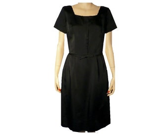 Vintage 1950's Dress / Black Silk / Sheath Dress / Tailored Treat / Medium / Get Lucky Vintage