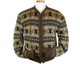 M Men's Zippered Cardigan Sweater Vintage 1950's Wool Mohair Sweater Jacket Medium