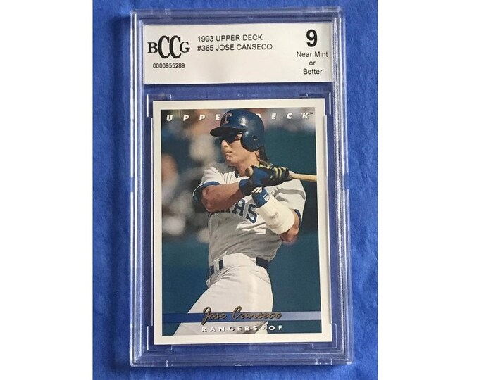 9 Near Mint 1993 Upper Deck #365 Jose Canseco RC Vintage Baseball Card