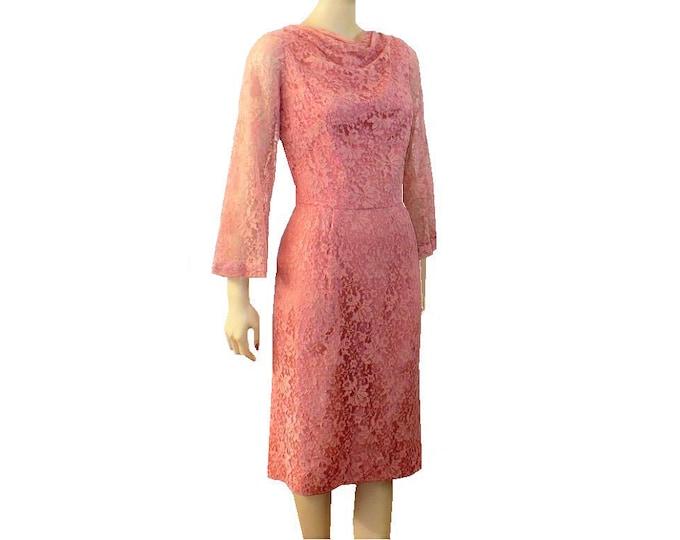 1950's Vintage Pink Lace-Over-Taffeta Dress Large