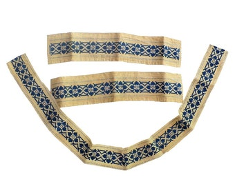 Antique Nordic Scandinavian Danish Viking Folk Embroidered Ribbon Trim, Men's Linen Cuffs Collar Set
