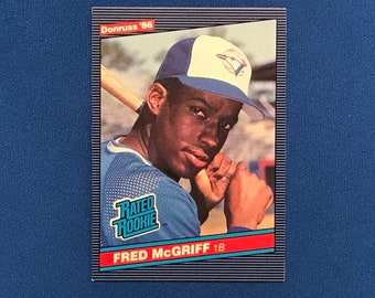 1986 Donruss #28 Fred McGriff Blue Jays Rookie Card RC '86 Baseball Card Trading Card Vintage Sports Memorabilia Collectibles