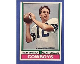 1974 Topps Roger Staubach Dallas Cowboys 500 Football Card Trading Card Vintage Sports Memorabilia Collectibles