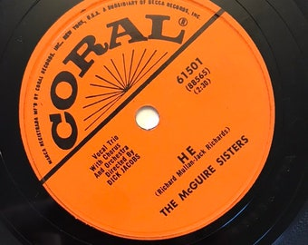 He; If You Believe by The McGuire Sisters Vintage 1950s Music 78 Coral Record 10 inch Shellac Disc Coral 61501